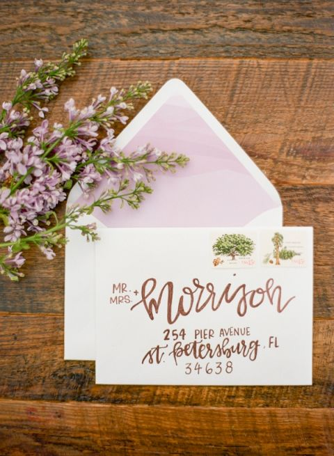 Hand Lettered Copper Wedding Invitation