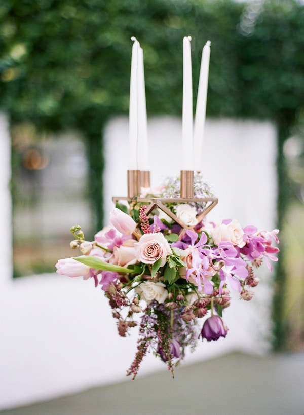 whimsical modern garden wedding in copper and purple