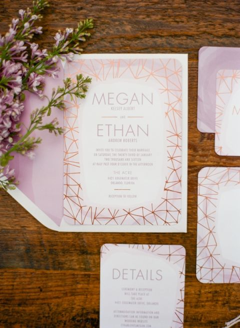 Modern Metallic Purple and Copper Patterned Invitation Suite