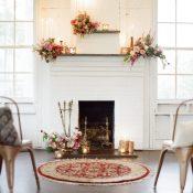 Fireplace Ceremony Backdrop with Modern Metallic Wedding Decor
