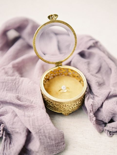 Classic Engagement Ring in a Vintage Gold Jewelry Box