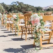 Mismatched Vintage Ceremony Chairs with Blush Aisle Decor