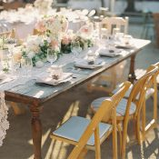 Vintage Farm Table with a Lace Runner