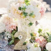 Blush and Ivory Flowers with Gold Glitter Table Numbers