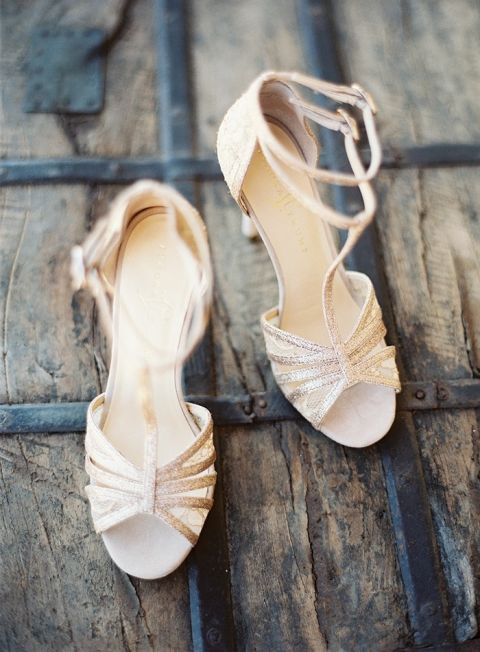 Rose Gold Glitter Wedding Day Shoes