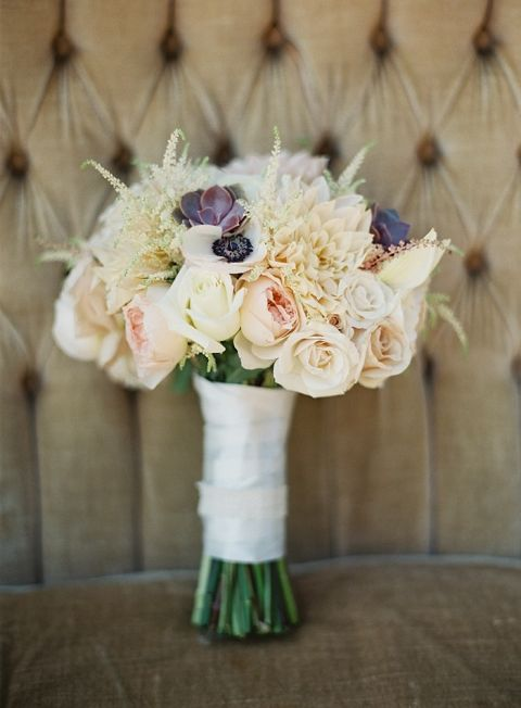 Pastel Bouquet with Succulents and Garden Flowers