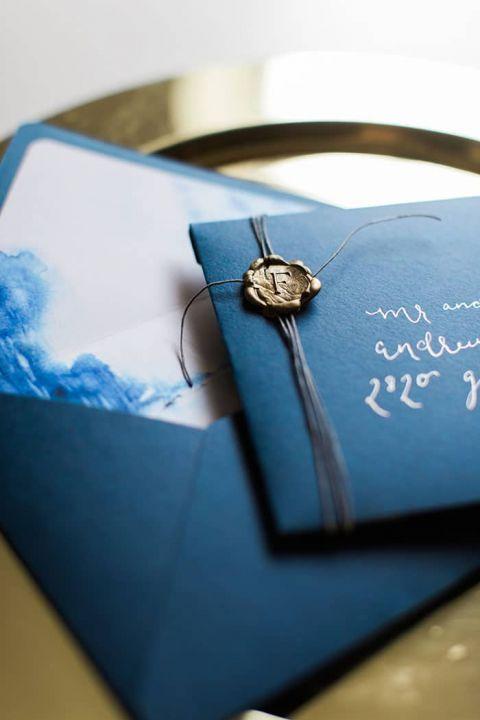 Indigo and Gold Wedding Invitation with a Wax Seal