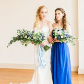 Bold Blue Bridesmaid Dress and Bridal Bouquet
