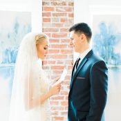 Watercolor and Brick Wedding Ceremony Backdrop