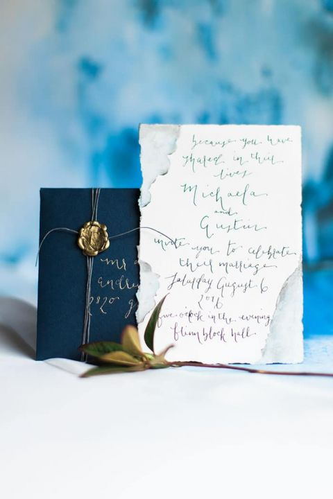 Watercolor Calligraphy Wedding Invitation Suite in Blue and Gold