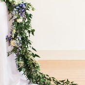 Floral Garland Table Runner in Blue and White