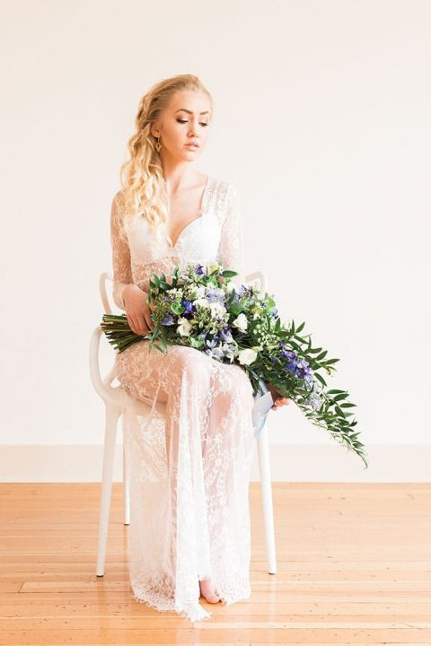 Wedding Morning Bridal Boudoir with a Lace Robe