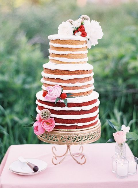 Peony and Berry Ombre Pink Wedding Cake