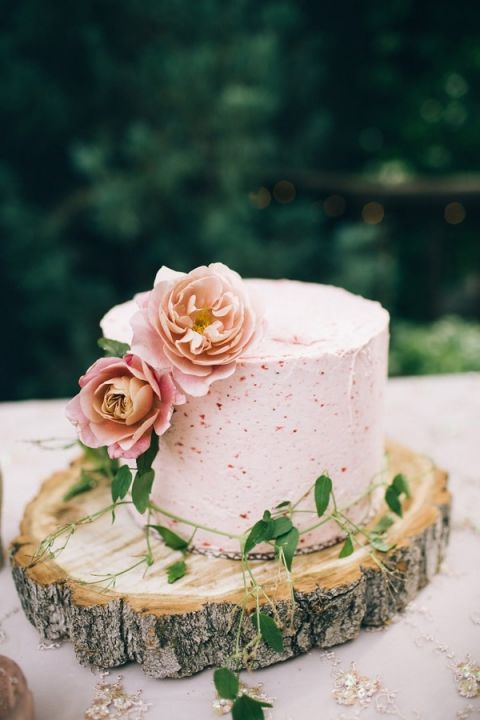 Rustic Woodland Cake With Summer Berry Frosting