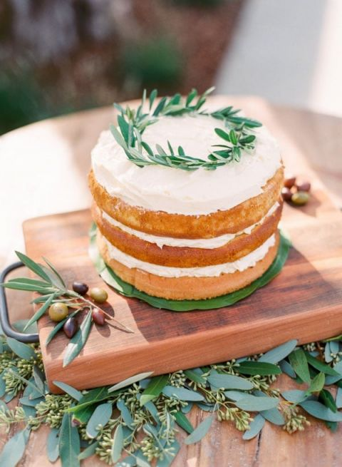 Simple Rustic Naked Cake with Olive Leaves