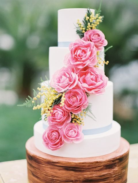 Colorful Sugar Flower Wedding Cake In Pink And Yellow