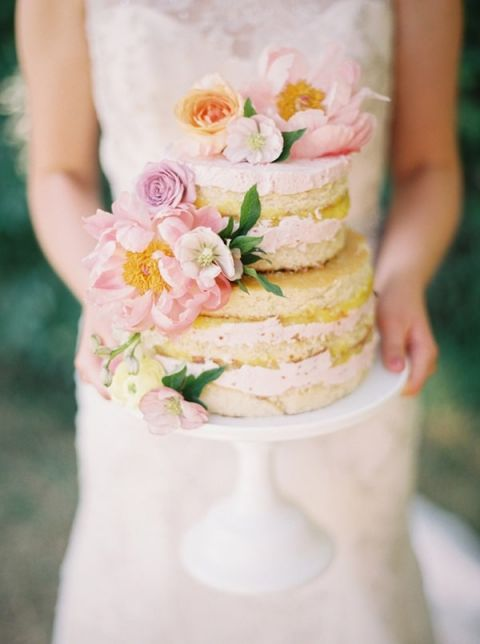 Naked Wedding Cake With Fresh Garden Flowers