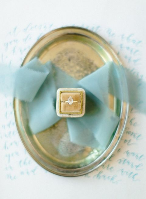 Pear Shaped Engagement Ring with Gold Velvet and Aqua Ribbon