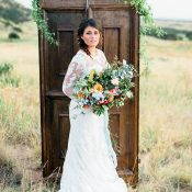 Colorful Bohemian Bride with a Vintage Door Ceremony Backdrop
