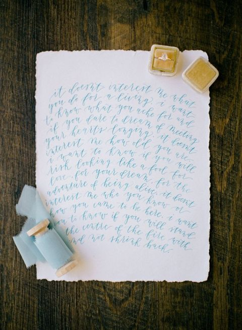 Calligraphy Wedding Vows in Aqua and Gold