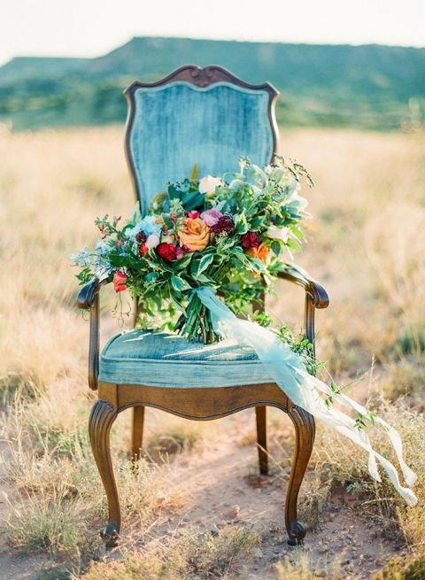 Colorful Bohemian Bouquet in a Vintage Velvet Chair