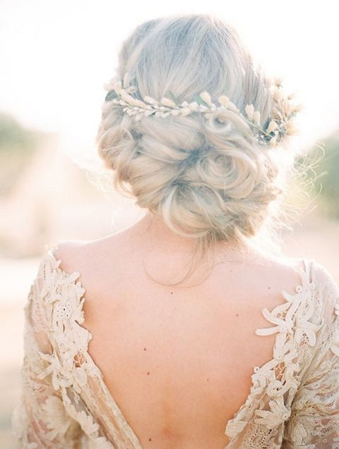 Romantic Bridal Hairstyle with an Open Back Wedding Dress