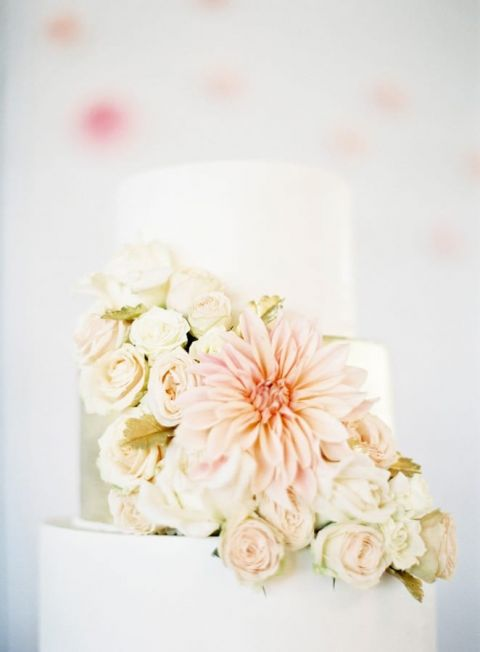 Neutral Gold and White Wedding Cake with Fresh Flowers