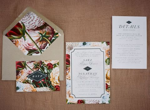 Modern Floral Print Wedding Invitations