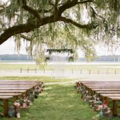 Rustic Outdoor Summer Wedding Ceremony with Vintage Pews