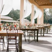 Outdoor Wedding Reception with Rustic Farm Tables and Twinkle Lights