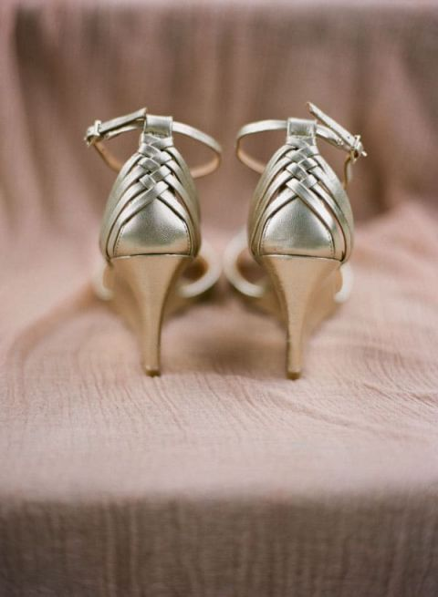 Gold Wedge Bridal Shoes