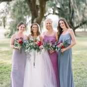 Mismatched Bridesmaid Dresses in Shades of Purple