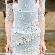 Sugar Lace and Feather Adorned Wedding Cake