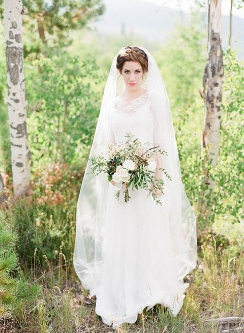 Romantic Veiled Bride in the Mountains