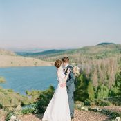 Floral Ceremony Wreath Overlooking a Mountain Lake