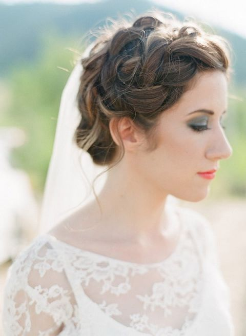 Romantic Braided Bridal Hairstyle with a Smokey Eye