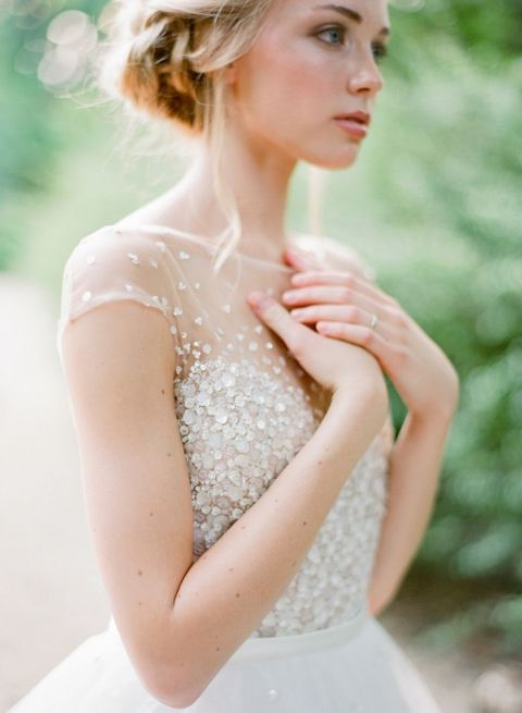 Sparkling Classic Wedding Dress with an Illusion Neckline
