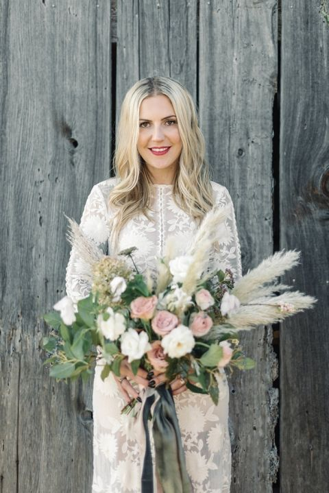 Modern Bohemian Bride with a Coastal Grass Bouquet