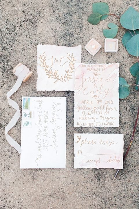 Romantic Gold Calligraphy Wedding Invitations