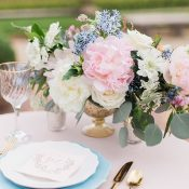 Pastel Spring Centerpiece with Lush Pink Peonies