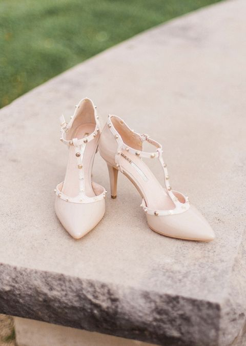 Nude and Gold Studded Wedding Heels