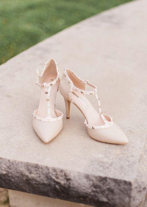Nude and Gold Studded Wedding Heels
