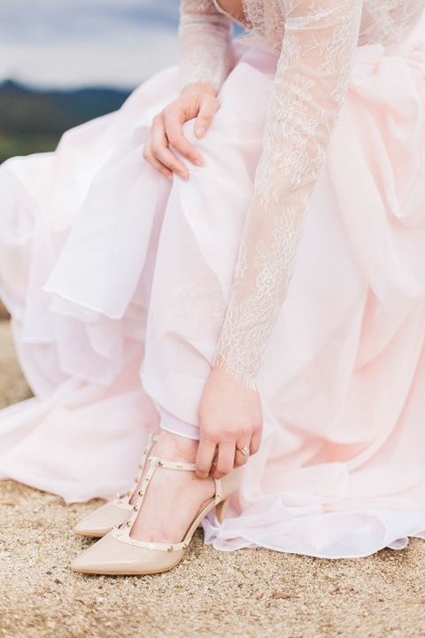 Blush Lace and Nude Valentino Heels for a Romantic Bridal Look