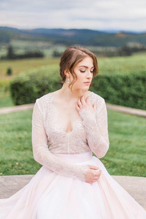 Romantic Long Sleeve Wedding Dress in Blush Lace