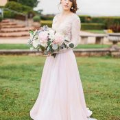 Romantic Blush Wedding Dress for a Rose Quartz Bridal Shoot