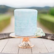 Elegant Serenity Blue Watercolor Wedding Cake