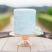Elegant Serenity Blue Watercolor Wedding Cake