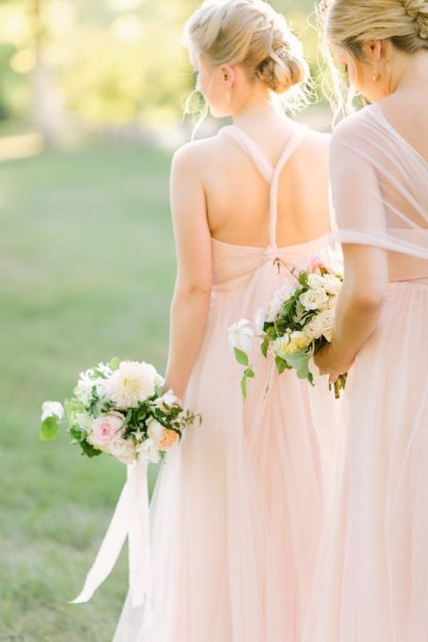 Southern Peach Chiffon Bridesmaid Dresses