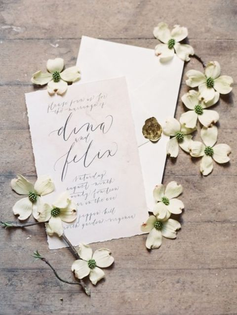 Calligraphy Wedding Invitations with Southern Dogwood Flowers