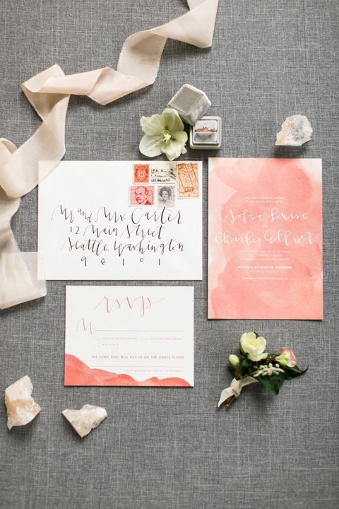 Modern Peach Watercolor and Calligraphy Invitations